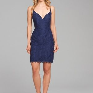 NWT Hayley Paige Occasions Navy Lace Mini Dress